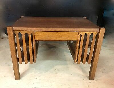 Antique Arts & Crafts Mission Oak Desk/Library Table - ANTIQUE ARTS & Crafts Mission Oak Desk/Library Table - $350.00