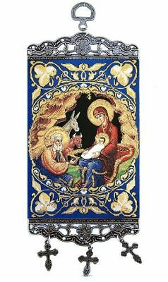 Byzantine Nativity Tapestry Icon Banner W Crosses - Wall Room Door Decoration 9