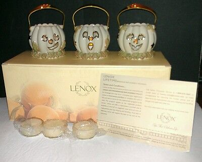 #760390 LENOX  24 Gold Accented Fine Ivory China  Pumpkin Votives Set Of 3 NEW!