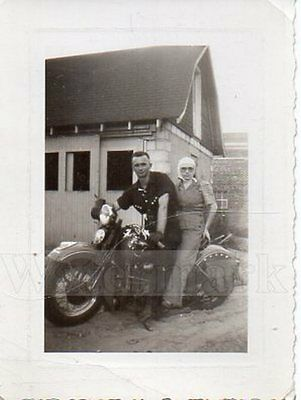 Vintage 1941 Photo Harley Davidson Motorcycle with Man and Woman Ready To Ride