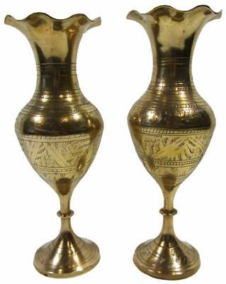 Brass Vase Pedestal Base Fluted Top Set 2 Vintage 70's Indian 24.5 cm Tall