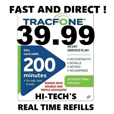 TRACFONE $39.99 Refill 200 Minutes WITH EXTRA BONUS MINUTES > 25YR USA DEALER