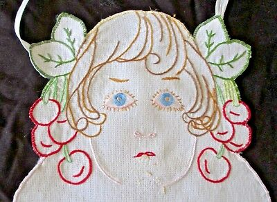 large antique bib hand embroidered w child's face in cherry tree, folk art look