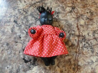 "Vintage Antique Bisque Ceramic Jointed Black Americana 4"" Baby Doll"