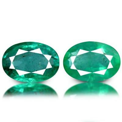 1.1ct NATURAL VS EMERALD Oval Pair 6.7x4.7mm PRECIOUS LOOSE GEMSTONES (465)