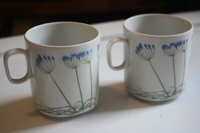 Block Langenthal Switzerland Set of 2 Mugs Brodiaea Henry Evans Floral Portrait