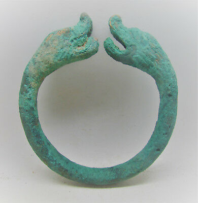 Circa 200-100Bc Ancient Bactrian Bronze Bangle With Beast Heads Rare Item