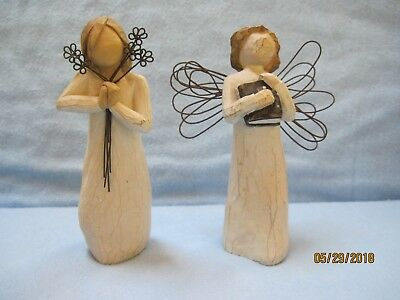 Pair of Willow Tree Angels Learning & Friendship Susan Lordi