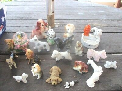 Good Antique Vintage Lot Of 19 Dog Figures Trinket Tray & Dog Globe As Pictured