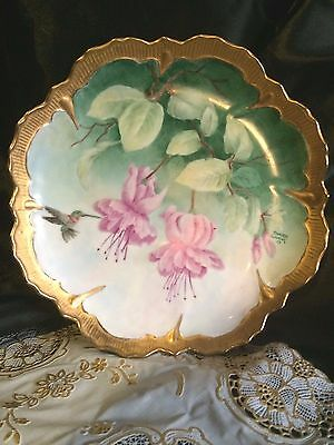 Gold Trimmed Hummingbird Plate Signed by the Artist