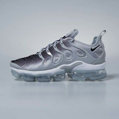 huge selection of 23140 a7c98 NIKE AIR VAPORMAX PLUS 924453-007 Wolf Grey Black White Mens Authentic