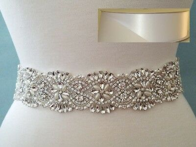 "Wedding Belt, Bridal Sash Belt - CRYSTAL PEARL Sash Belt = 18"" = WHITE RIBBON"