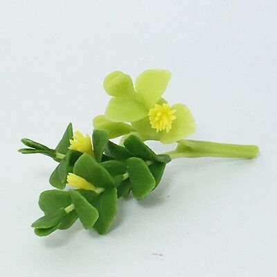 Dollhouse Miniature Yellow Flower Baby Rose Handmade Clay plant