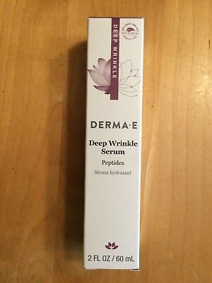 NEW Derma e Deep Wrinkle Peptide Serum for Smoother Younger Looking Skin - 2 Oz