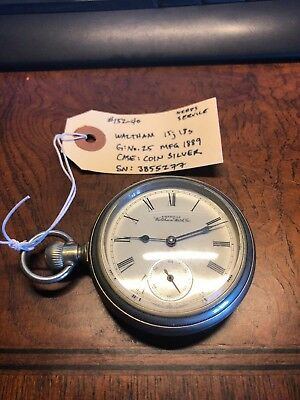 Gorgeous Antique Waltham Pocket Watch - Coin Silver, Needs Service