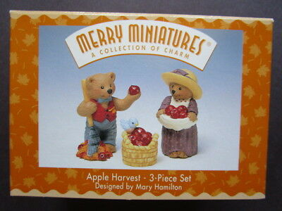 Merry Miniatures  (Hallmark)   Apple Harvest -  3-Piece Set 1997