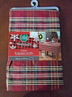 "New Christmas Fabric Tablecloth 52"" x 70"" Red Green Plaid Winter Wonder Lane"