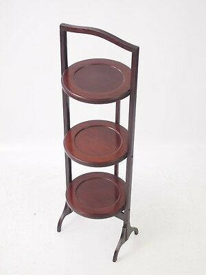 Antique Edwardian Inlaid Mahogany Cake Stand - Folding Book Plate Display Shelf