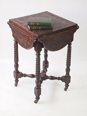 Small Antique Victorian Carved Gothic Oak Table - Card Games Poker Lamp Table