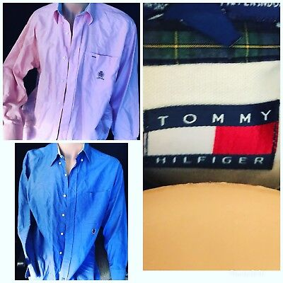 VINTAGE TOMMY HILFIGER Mens 100% COTTON BUTTON COLLAR OXFORD SHIRTS Sz MED LOT 2