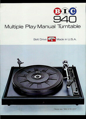 BIC 940 Multi Play Manual Turntable Rare Original Factory Dealer Sheet Page 1976