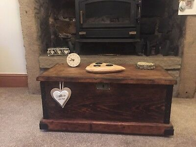 Antique PINE CHEST, Old TRUNK, Coffee TABLE, Vintage Storage BOX, architects box