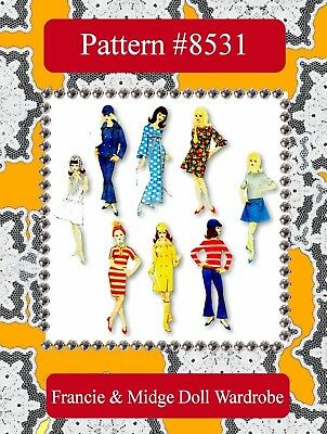 #8531 - 1960s MOD Doll Clothes Pattern ~ Made For Francie & Midge