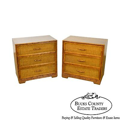 Faux Bamboo & Wicker Pair of 3 Drawer Chests by American of Martinsville