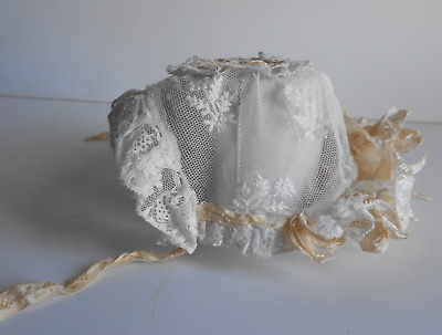 Antique French hand embroidered lace tulle & silk baby bonnet 1890