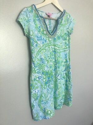 Lilly Pulitzer Women's Harper Embellished  Dress Any Fins Possible Blue Green XS