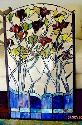 """20"""" x 34"""" Large Handcrafted stained glass window panel Flowers blue multicolored"""