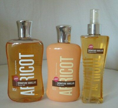 3 Pc Bath & Body Works Signature Vanillas Apricot Set Lotion Shower Gel Mist Lot