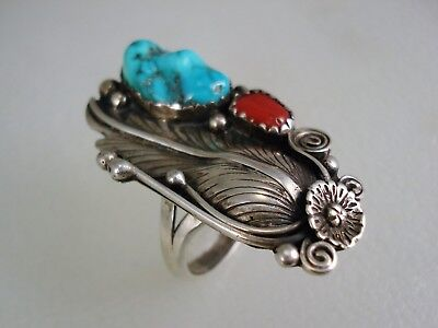 VINTAGE NAVAJO STERLING SILVER & TURQUOISE CORAL SQUASH BLOSSOM RING sz 8