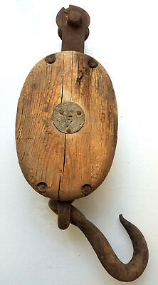 Antique Vintage Wood Block Pulley with hook large
