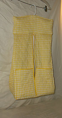 Diaper Stacker, Custom Made, Quilted Yellow and White Checks, Two pockets, New