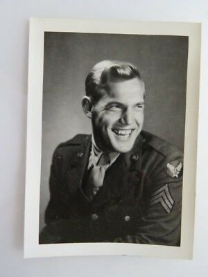 WWII Vintage Photograph Soldier Earnest Bauer Jr. Tomahawk WI WW2 Photo #7073