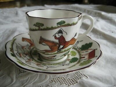 Crown Staffordshire Hunting Scene Horse Dog Demitasse Cup Saucer Scalloped Edg