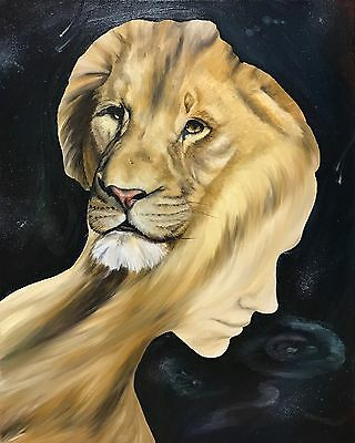 Original Oil Painting Oc Surrealism Lion Africa Wild Cat Hand