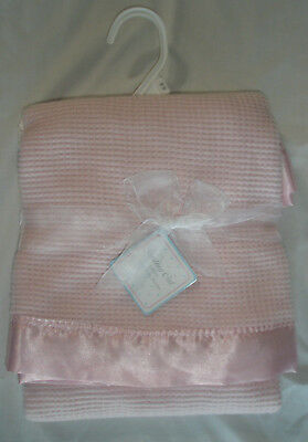 Starting Out Pink Layette Satin Edge Trim Baby Thermal Blanket  Waffle Knit NEW