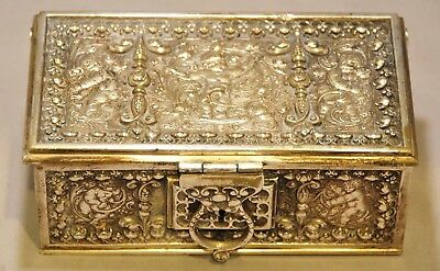 RARE Antique Silver Plated Gothic Revival Brass Casket Chest Trinket Box
