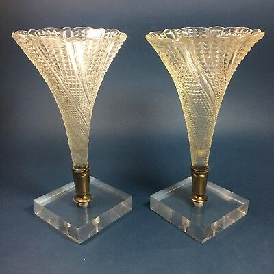 Pair of French Epergnes Lucite Base Brass Pressed Glass Art Deco