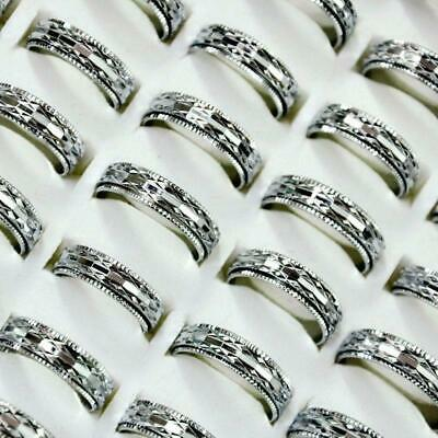 20pcs Mixed Style Double Layer Silver Alloy Rings Feminine Wholesale Jewelry KFP