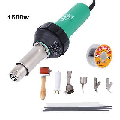 1600W Hot Air Gas Plastic Welder Welding Gun 4 Nozzles + Rods Set + Wire Reel