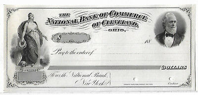 RARE American Bank Note Co. Proof Draft Natl. Bank Commerce Cleveland, OH 1880's