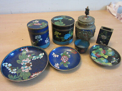 11pc Antique Chinese Cloisonne enameled lot, Canisters, dish, Jar, Match case+