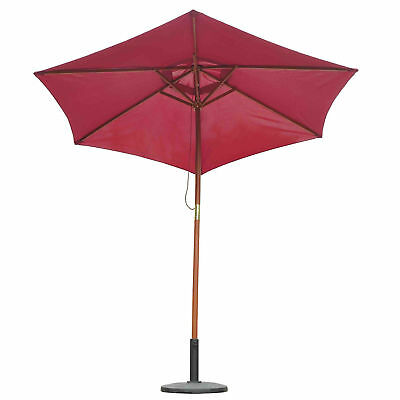 Summer Clearance ⌀8.2' x 7.4'H Bamboo Wood Round Market Patio Sun Umbrella