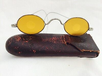 Antique Silver Tone Yellow Tinted SHOOTERS CIVIL WAR Looking Eyeglasses w/ Case