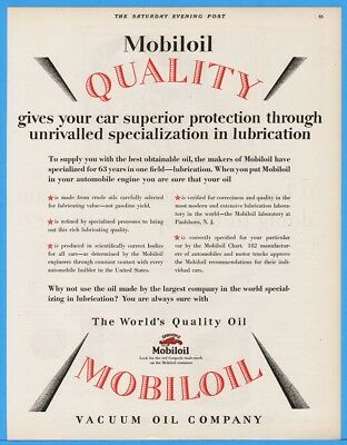 1928 Gargoyle Mobiloil Vacuum Oil Ad Quality Superior Protection Lubrication