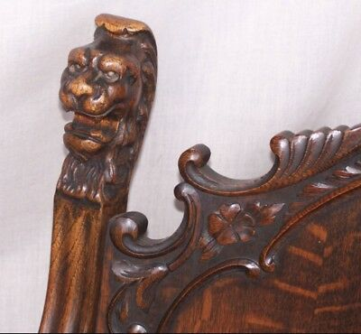 Antique oak parlor furniture set with carved lion heads