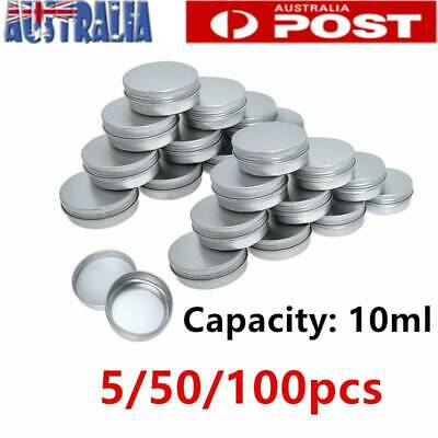 5/50/100pc Aluminium Empty Cosmetic Pot Lip Balm Jar Tin Container Silver Box AU